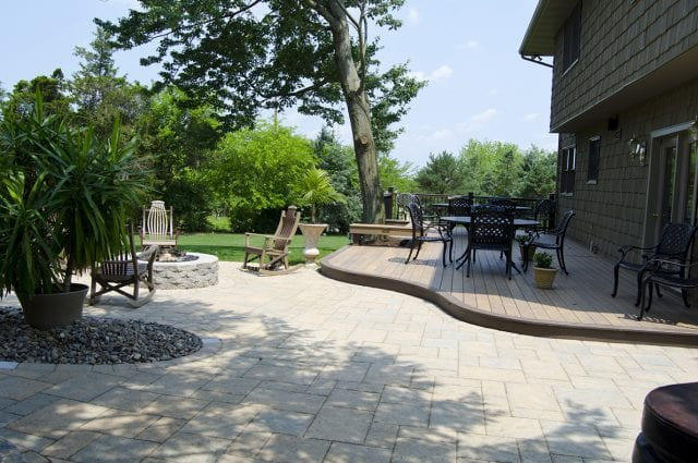 backyard deck and patio combo