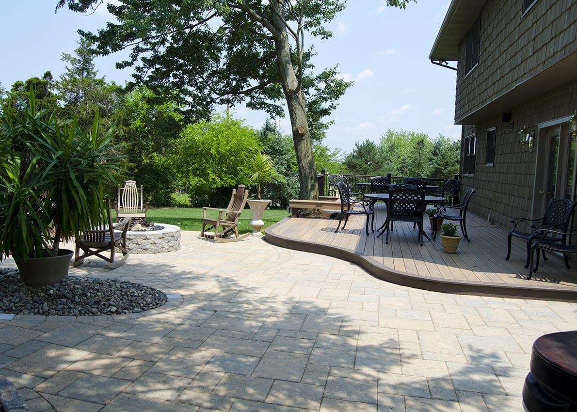 backyard deck and patio combo