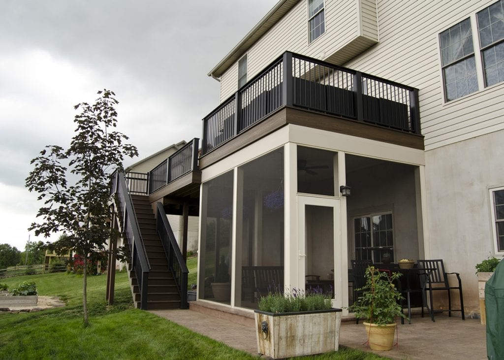 elevated deck with screened in porch underneath