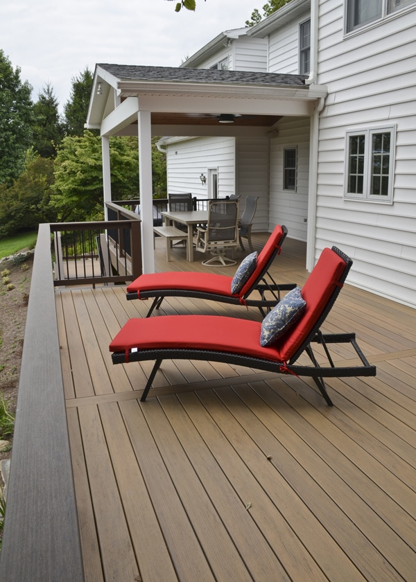 a large open section of deck for lounging