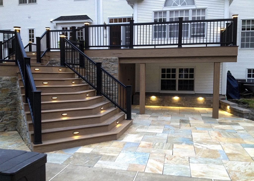 poolside deck and patio with step lights and post lights