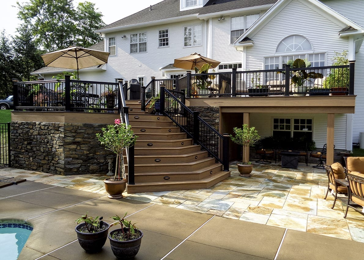 custom timbertech deck and patio in pittsford ny