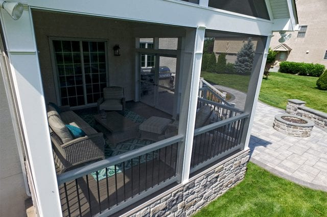 screened-in timbertech porch in harleysville pa