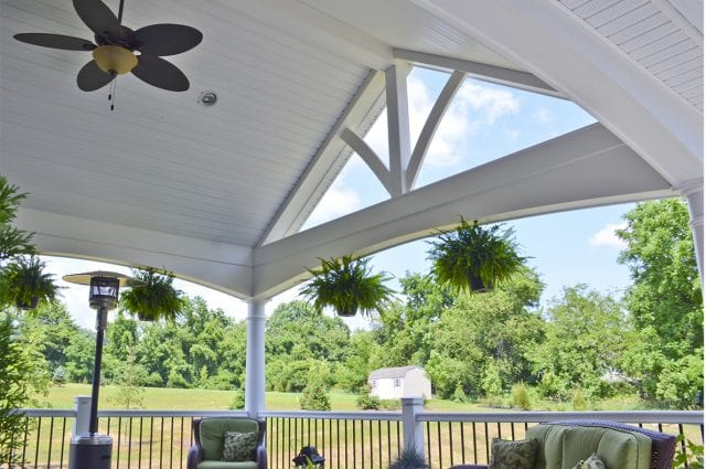 porch with trex island mist composite deck