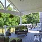 trex deck and porch showcasing island mist decking along with vintage lantern accents
