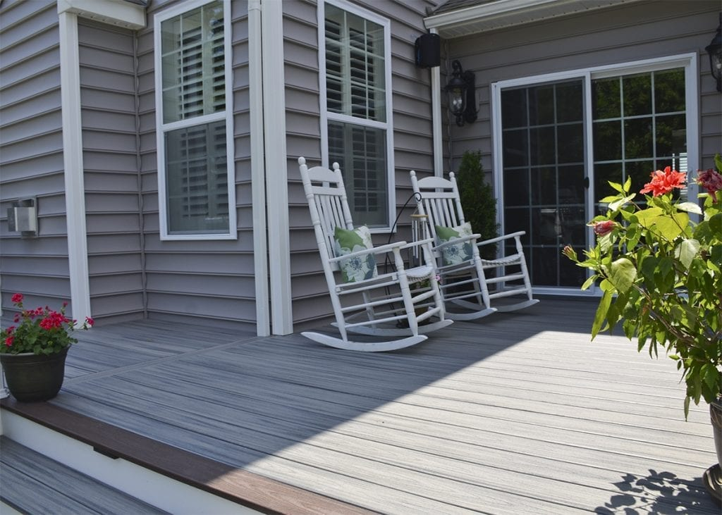 trex composite decking with rocking chairs