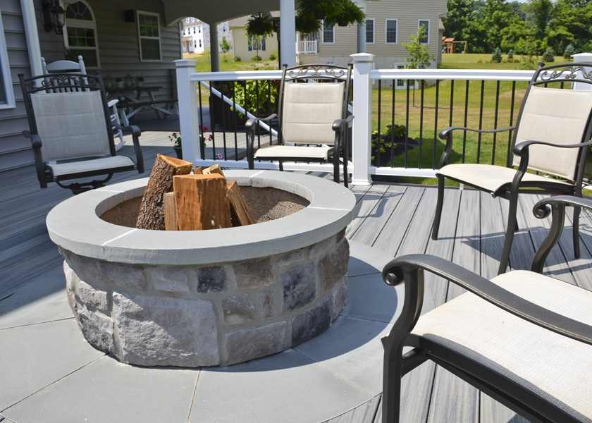 built in wood burning fire pit