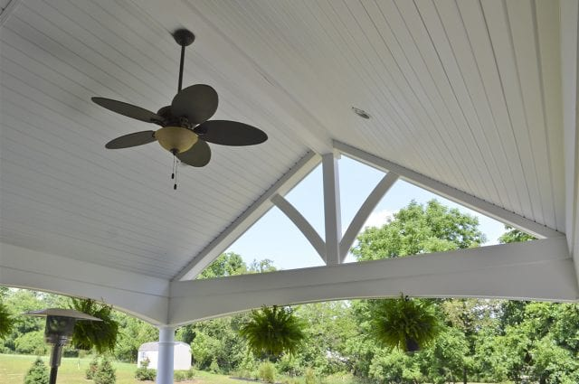 interior porch ceiling with fan