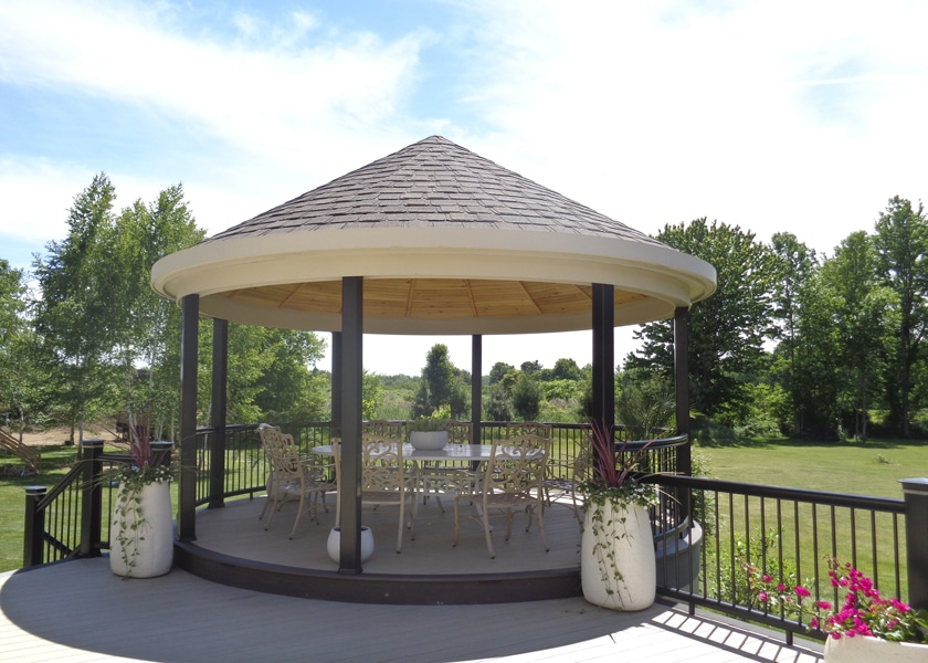 covered gazebo with complex design