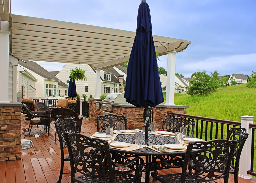 antigua gold deck with outdoor kitchen