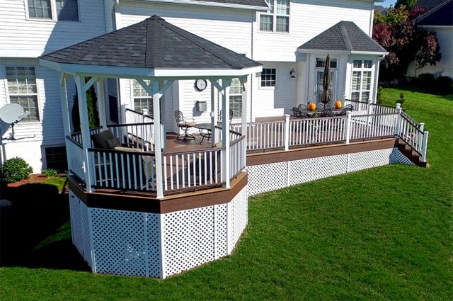 custom deck with an octagonal porch