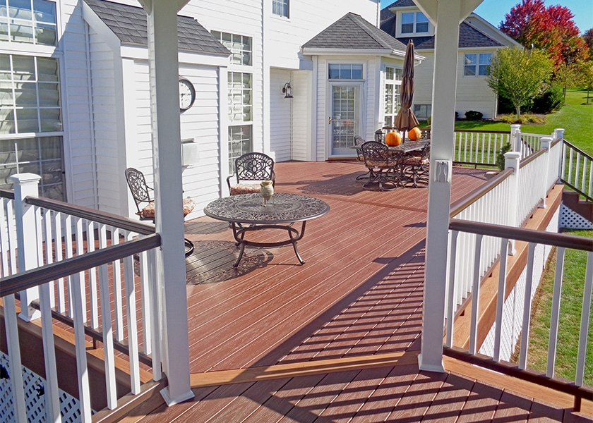 timbertech deck with latticework in pittsford ny