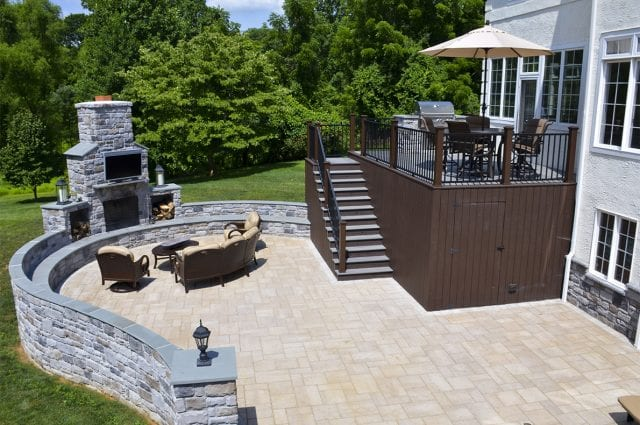 patio with fire feature