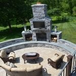 private patio with fireplace