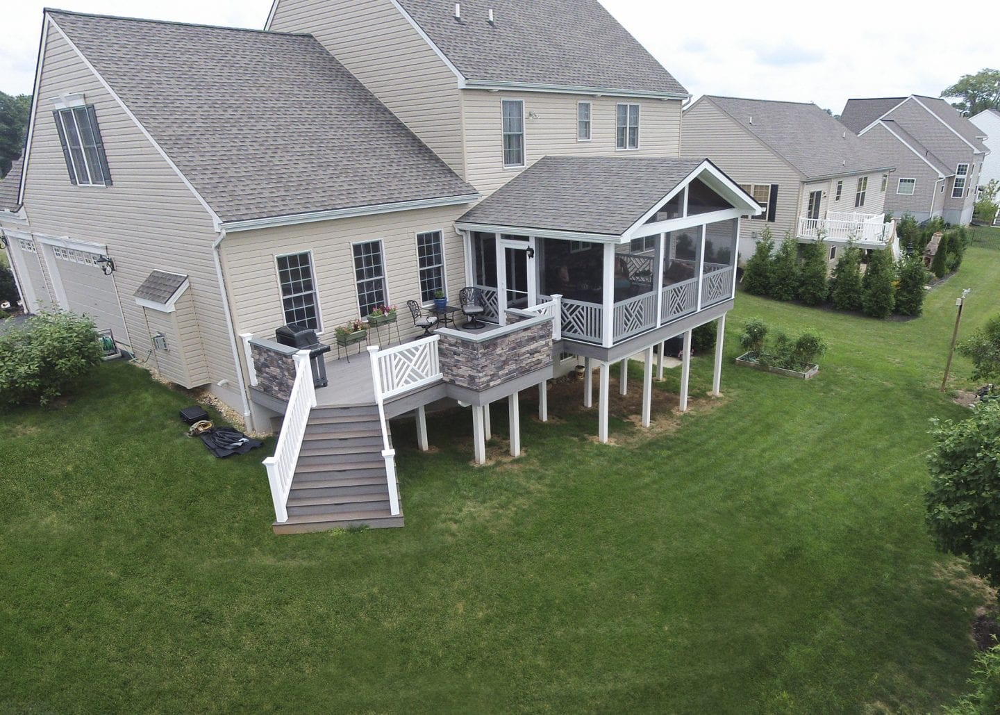 Notice How The Hazelwood Decking Blends With White Siding Both Colors Are Subtle And Mix Beautifully