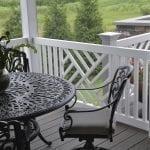 white vinyl railing with custom panels