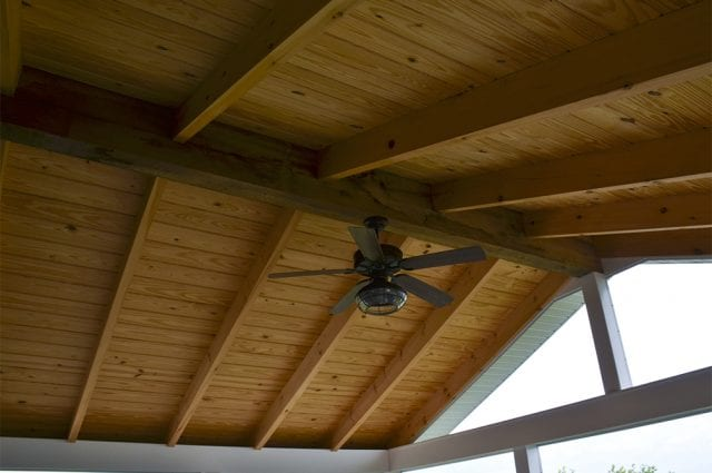 screened-in porch roof with fan