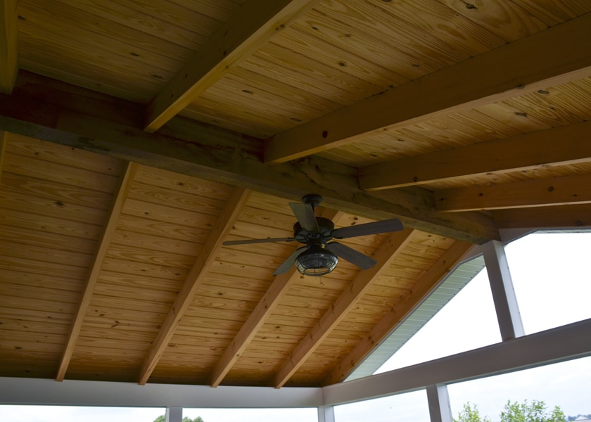 ceiling of screened in porch with fan
