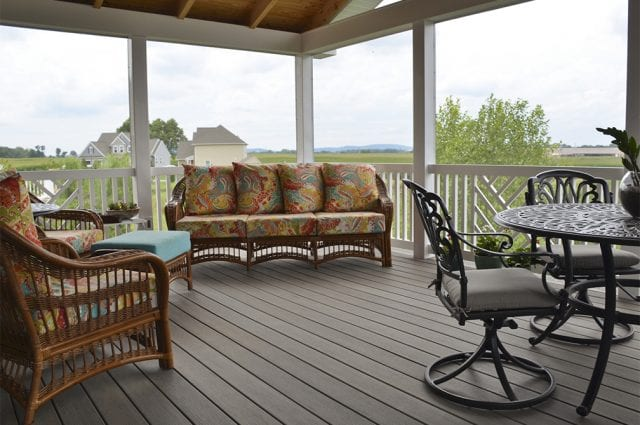 screened-in porch interior with ashwood decking