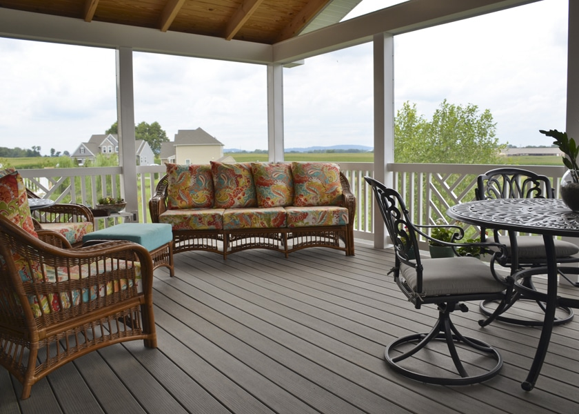 ashwood composite decking used for screened-in-porch