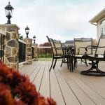 pecan-colored deck boards paired with stucco siding