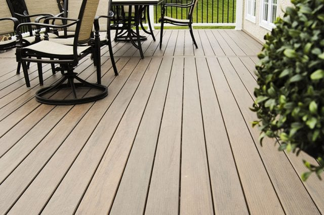 neutral-colored house with pecan-colored deck