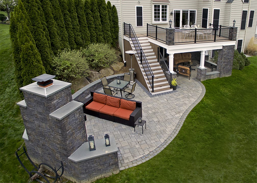 outdoor living space featuring timbertech pecan deck