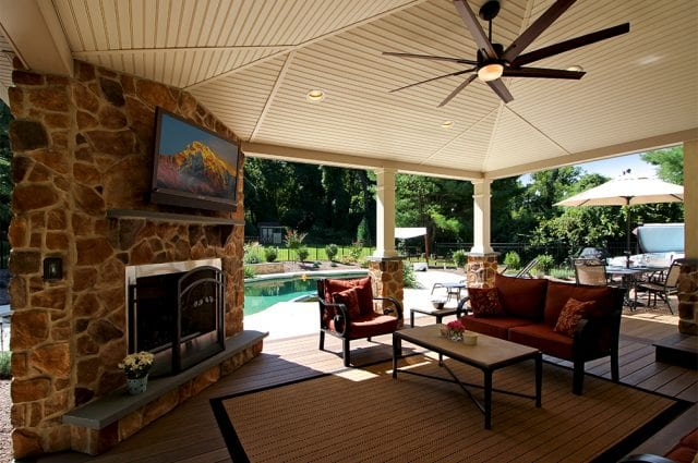 timbertech porch with fireplace