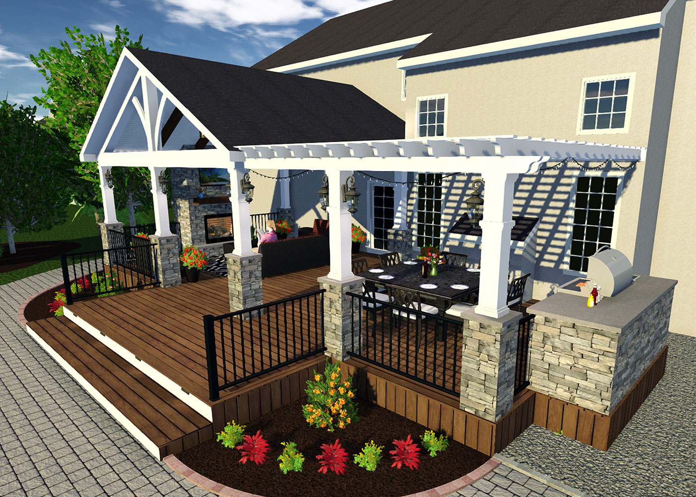 3D Render - Deck Builders In Chester & Lancaster County Outdoor Living Spaces