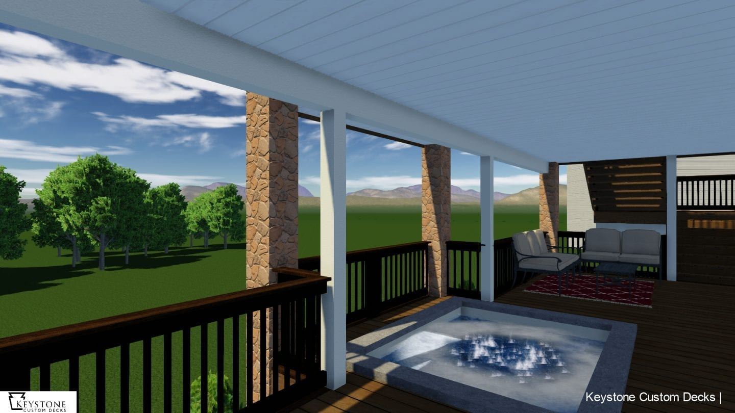 3D rendering featuring timbertech deck and jacuzzi