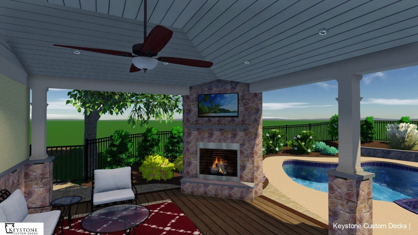 3D rendering of new porch complete with gorgeous stonework and fireplace