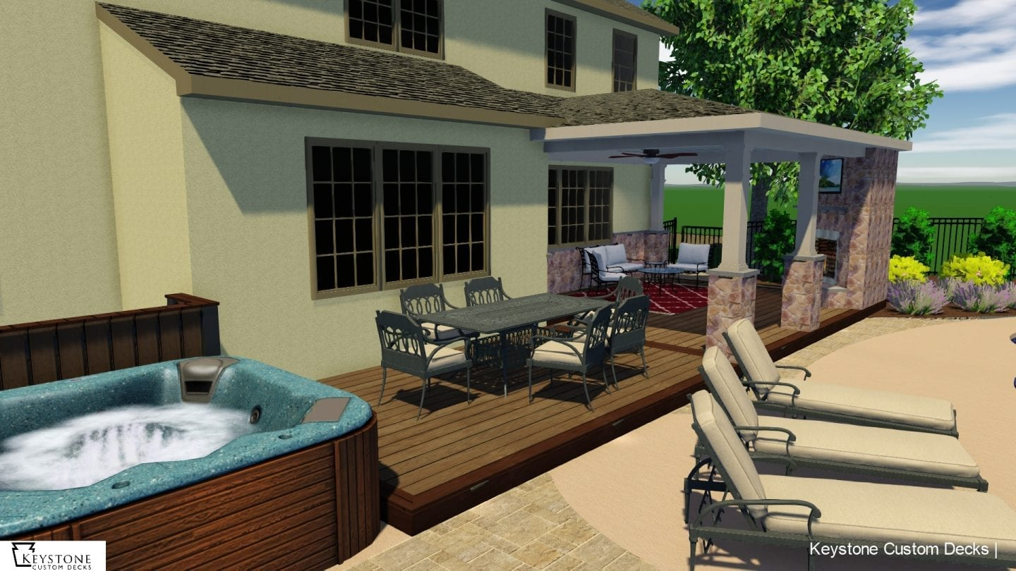 3D rendering of timbertech pecan composite deck