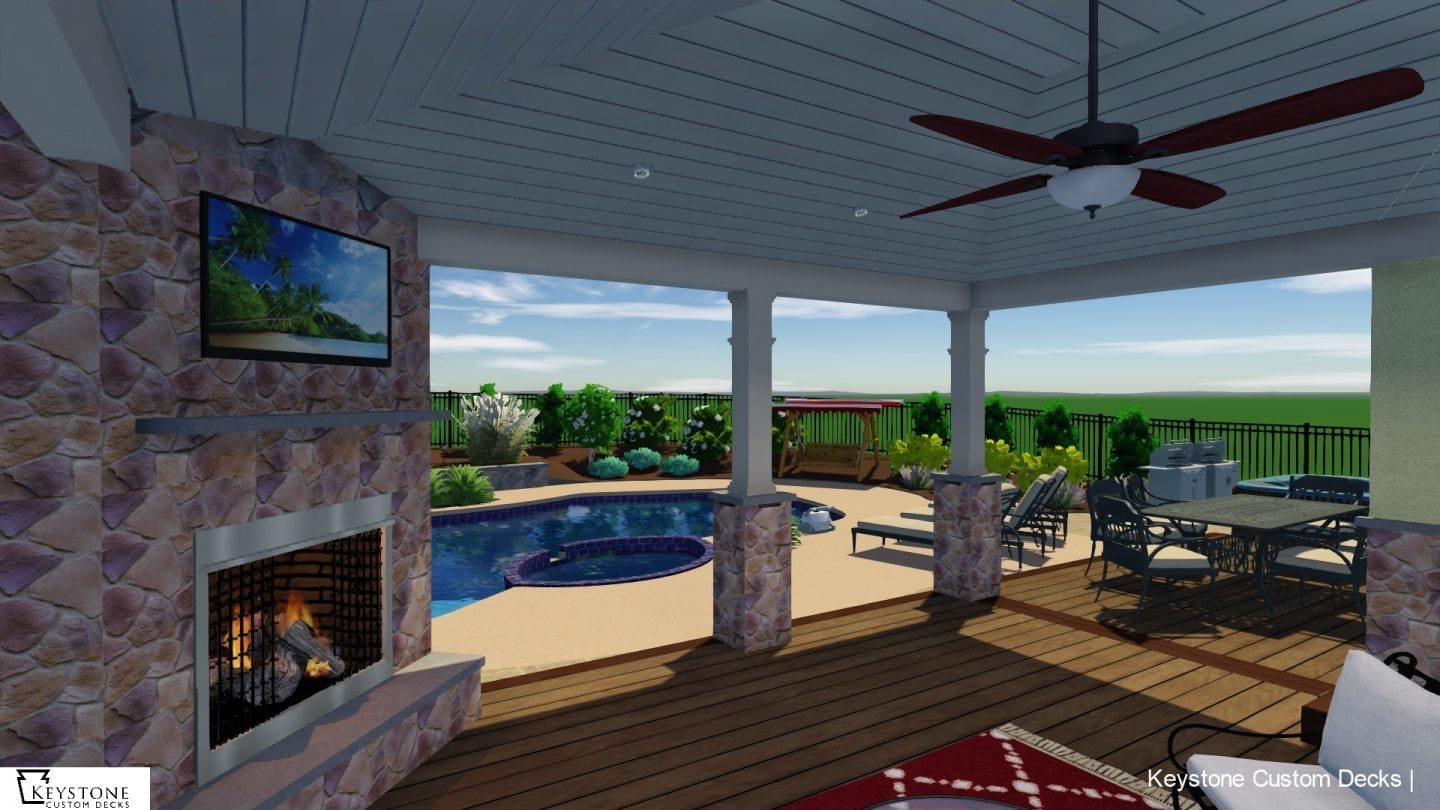 3D rendering of timbertech porch with fireplace