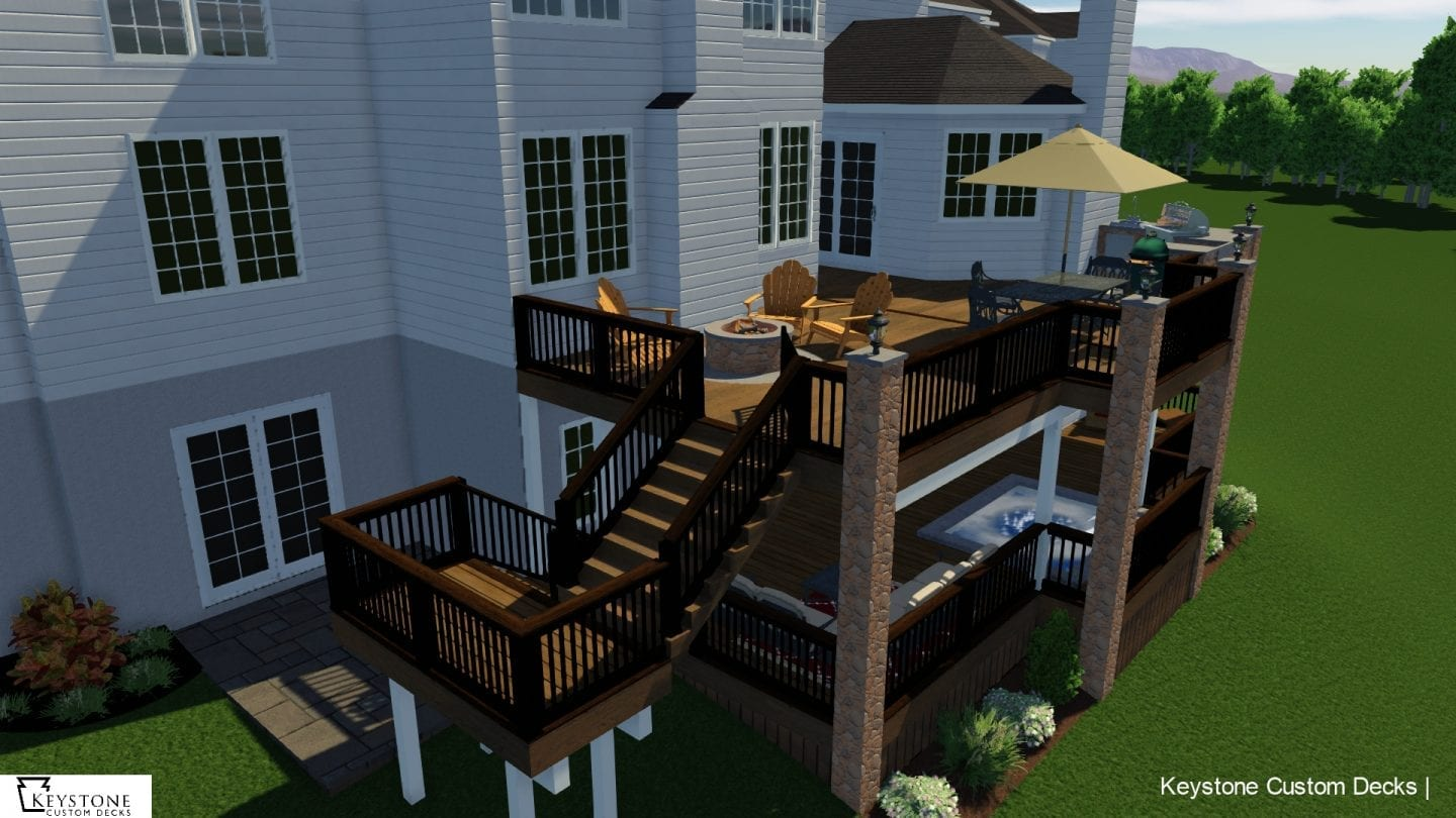 3D rendering timbertech tigerwood composite deck