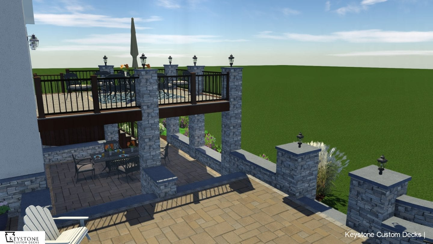 3D rendering of trex island mist and vintage lantern composite decks