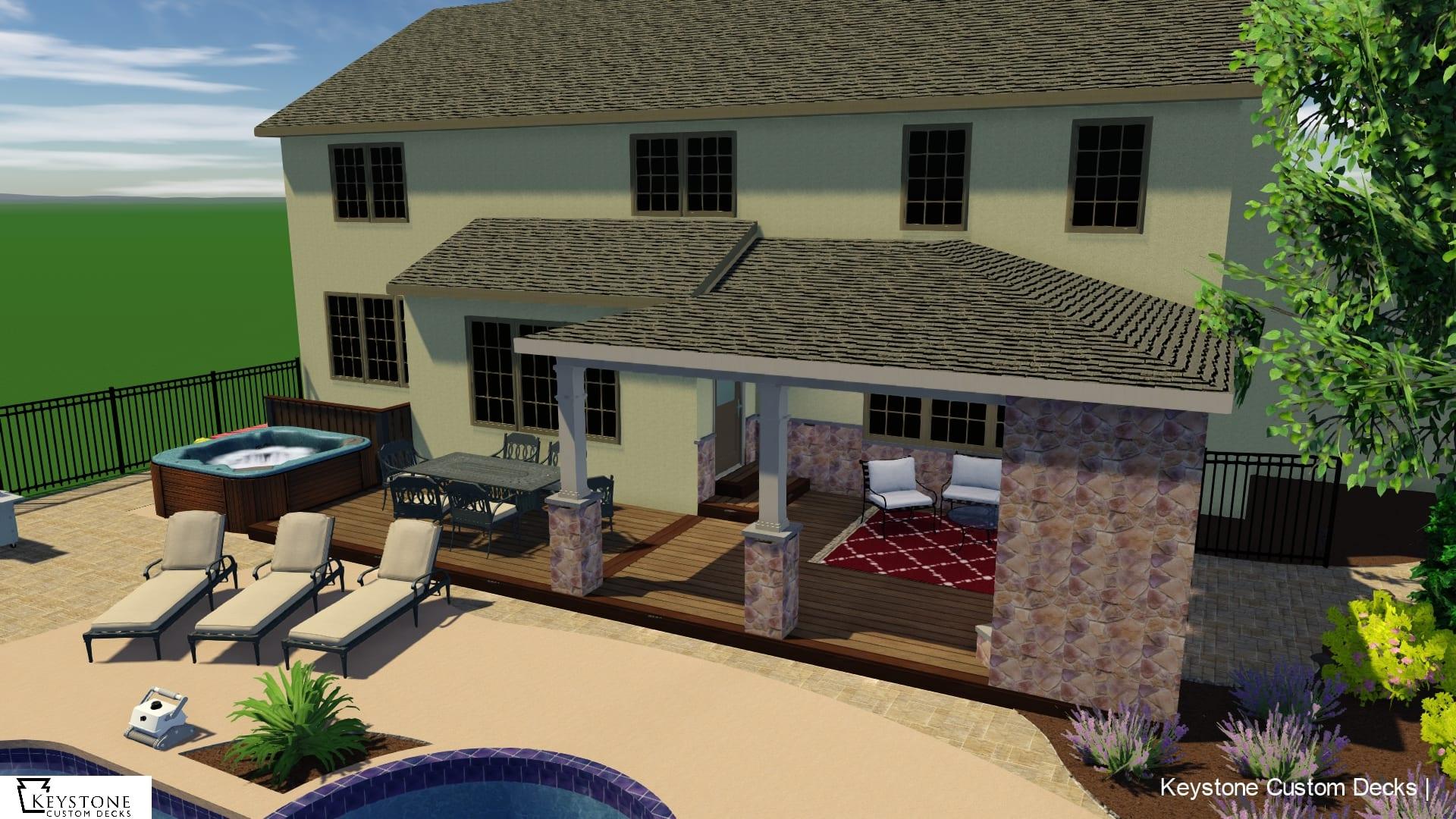 3D rendering with timbertech pecan composite deck poolside