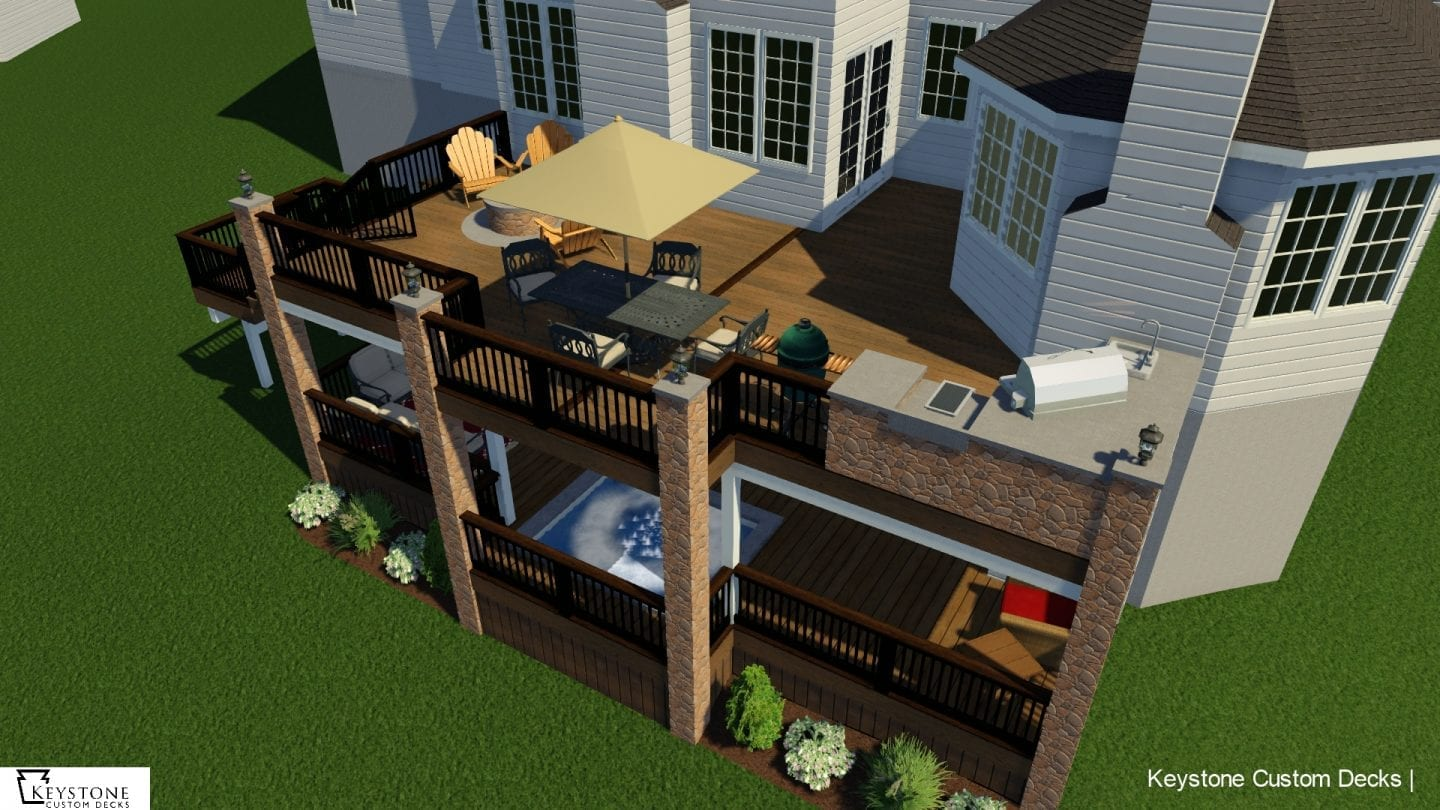 3D rendering of custom timbertech deck west chester pa