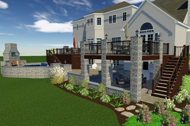 Gorgeous 3D Deck and Porch Rendering