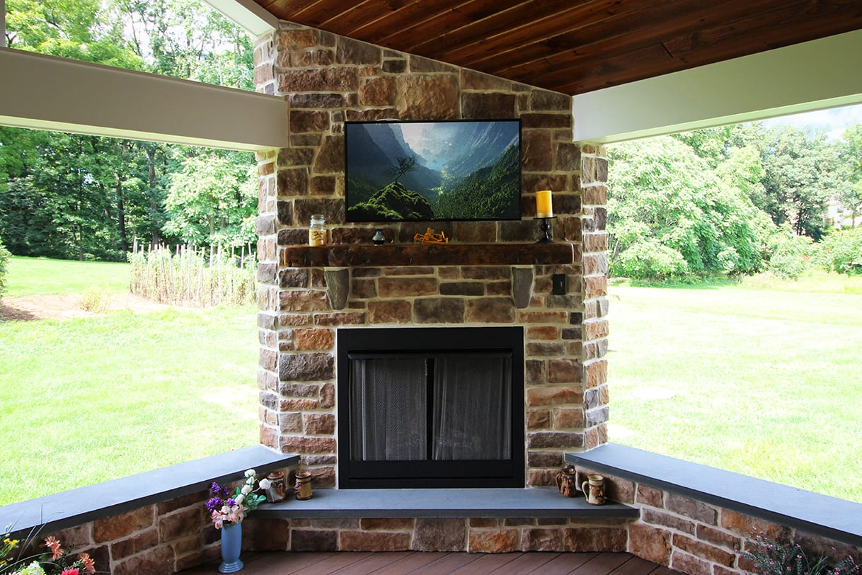tv under covered patio