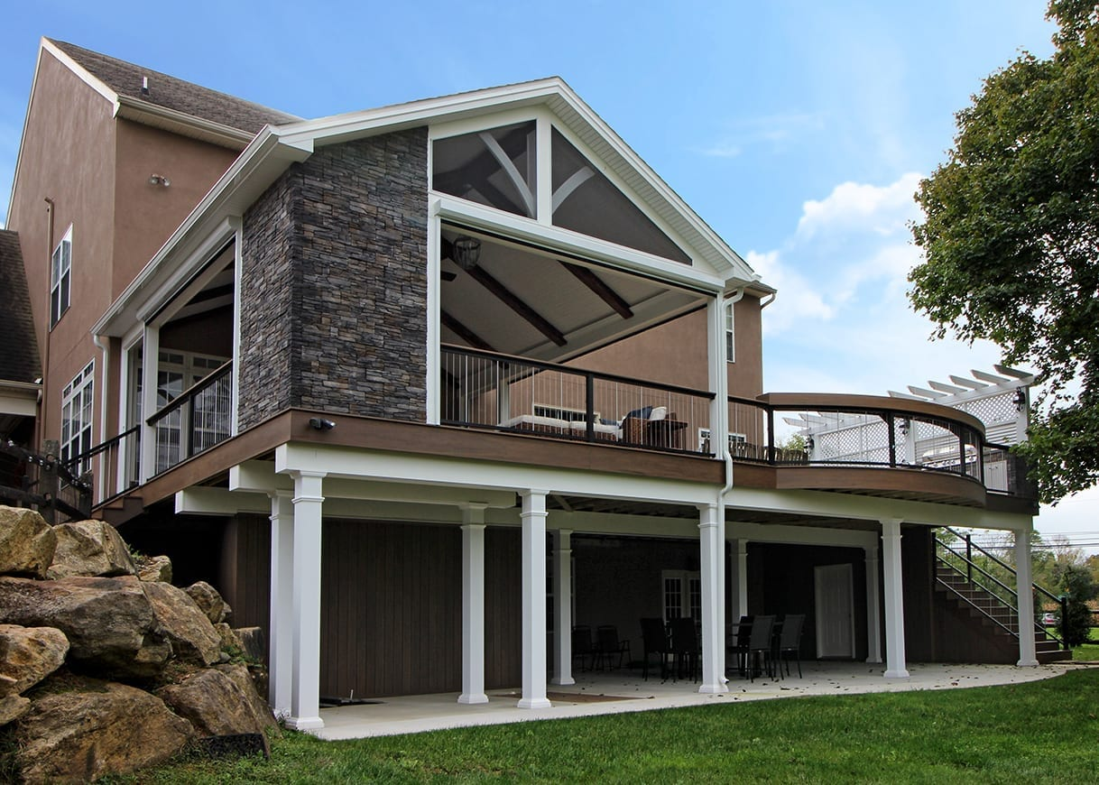 elevated deck with covered back porch