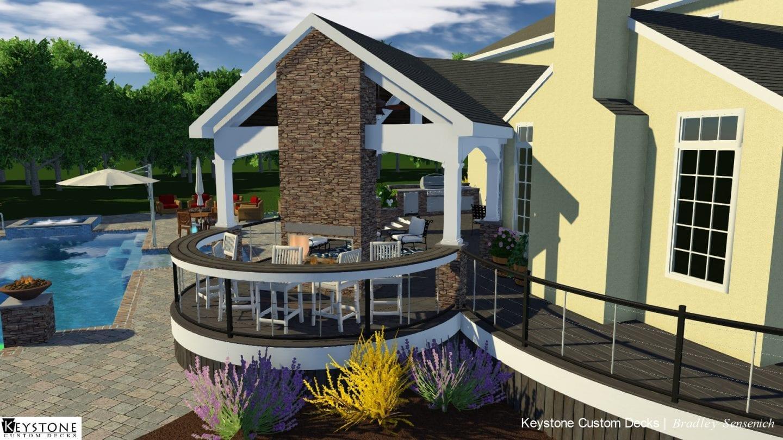 3D rendering of pool deck
