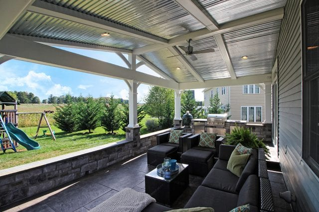 Keller - Porch and stamped concrete with aluminum ceiling