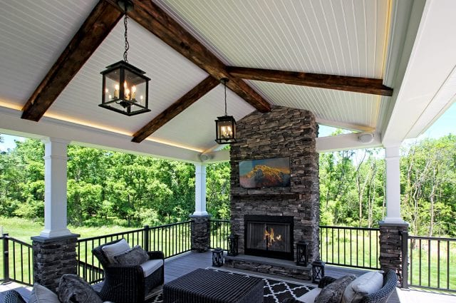 Belles - TimberTech Ashwood deck and porch with barnwood and fire place
