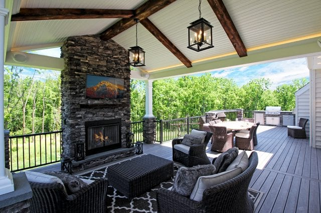 Belles - TimberTech Ashwood deck and porch with fire place and tv