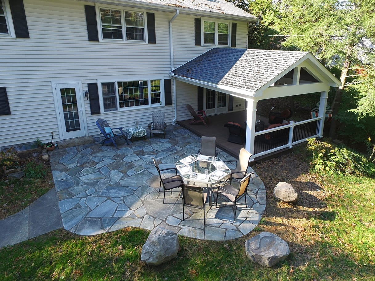 timbertech deck and flagstone patio combo in Lancaster PA
