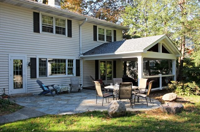 Hendrick - Timbertech Porch and Flag Stone Patio