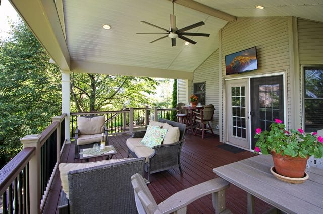 Robstock - Timbertech Caribbean redwood deck and porch with TV, fan and lights