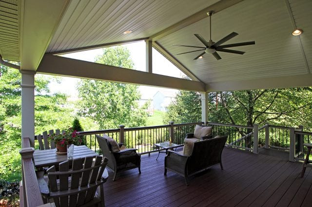 Robstock - Timbertech Caribbean redwood deck and porch with fan and lights