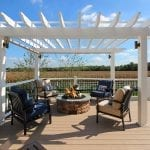 Strother - fire pit and pergola on a Trex rope swing deck