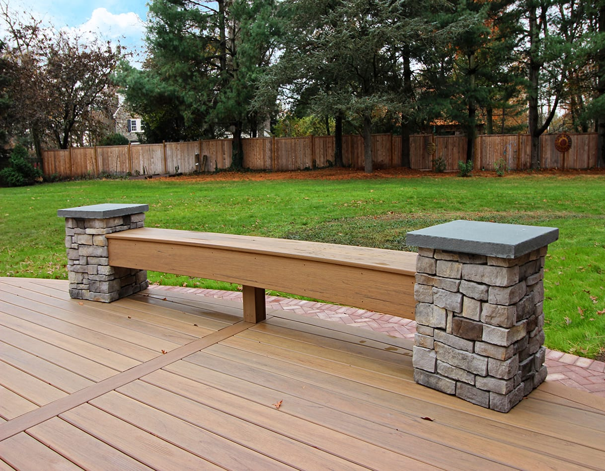 custom deck with bench for outdoor seating